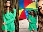 Ananya Panday is Gen-Z trendsetter in <span class='webrupee'>₹</span>32.6k green blazer, shorts set(Instagram/ananyapanday)