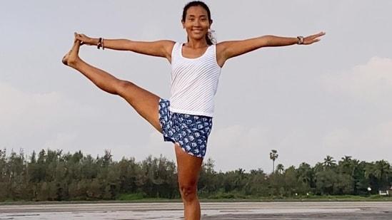 Ankita Konwar aces Utthita Hasta Padangusthasana with ease and we are inspired(Instagram/ankita_earthy)