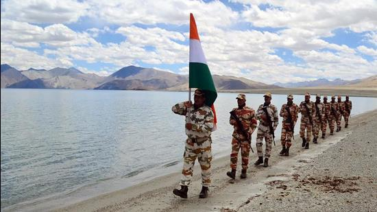 The Indo-Tibetan Border Police jawans celebrate the 75th Independence Day at the banks of Pangong lake, in Leh, Ladakh last month. The envoy was referring to the ongoing 16-month long military tension along the LAC in eastern Ladakh, which has plunged Sino-India bilateral ties to the worst chill in decades. (ANI)