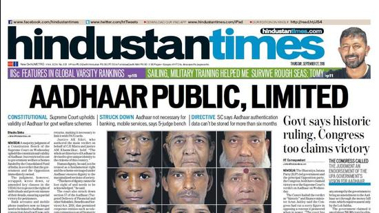 HT This Day: September 27, 2018 — Aadhaar Public, Limited