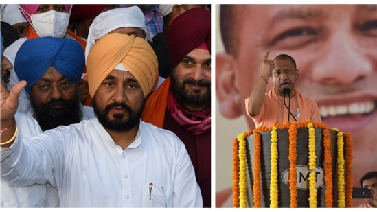 Punjab chief minister (L) Charanjit Singh Channi and Uttar Pradesh chief minister (R) Yogi Adityanath to expand their cabinets today as Punjab and Uttar Pradesh head towards legislative elections in 2022.(PTI/AFP/HT Photos)