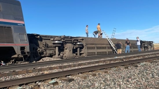 Amtrak train running between Seattle and Chicago derailed in Montana, according to reports, leading to multiple injuries.(Photo via social media)
