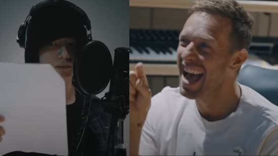 BTS member Jungkook and Coldplay's Chris Martin in Coldplay X BTS Inside My Universe Documentary.