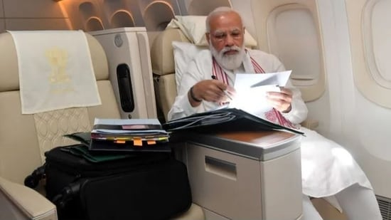 PM Modi posted this photo as he was flying to the United States.