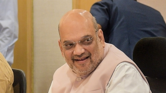 Union Home Minister Amit Shah chairs a high-level meeting with Chief Ministers of ten Naxal-hit states, at Vigyan Bhawan in New Delhi(PTI Photo)