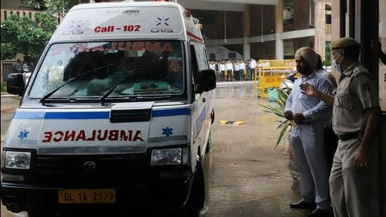 An ambulance carries the body of Jitender Maan alias Gogi from Rohini district court complex. Gogi was shot dead inside a courtroom by two assailants belonging allegedly to the Tillu Tajpuriya. Both Gogi and Tajpuriya were among Delhi most notorious criminal ganglords. (ANI photo)
