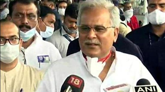 Chhattisgarh chief minister Bhupesh Baghel was seen in a public programme with political rival TS Singh Deo in Raipur (ANI)