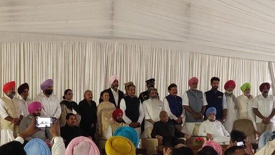 Punjab Cabinet expansion: Ministers of Charanjit Singh Channi government took oath on Sunday.(HT Photo)