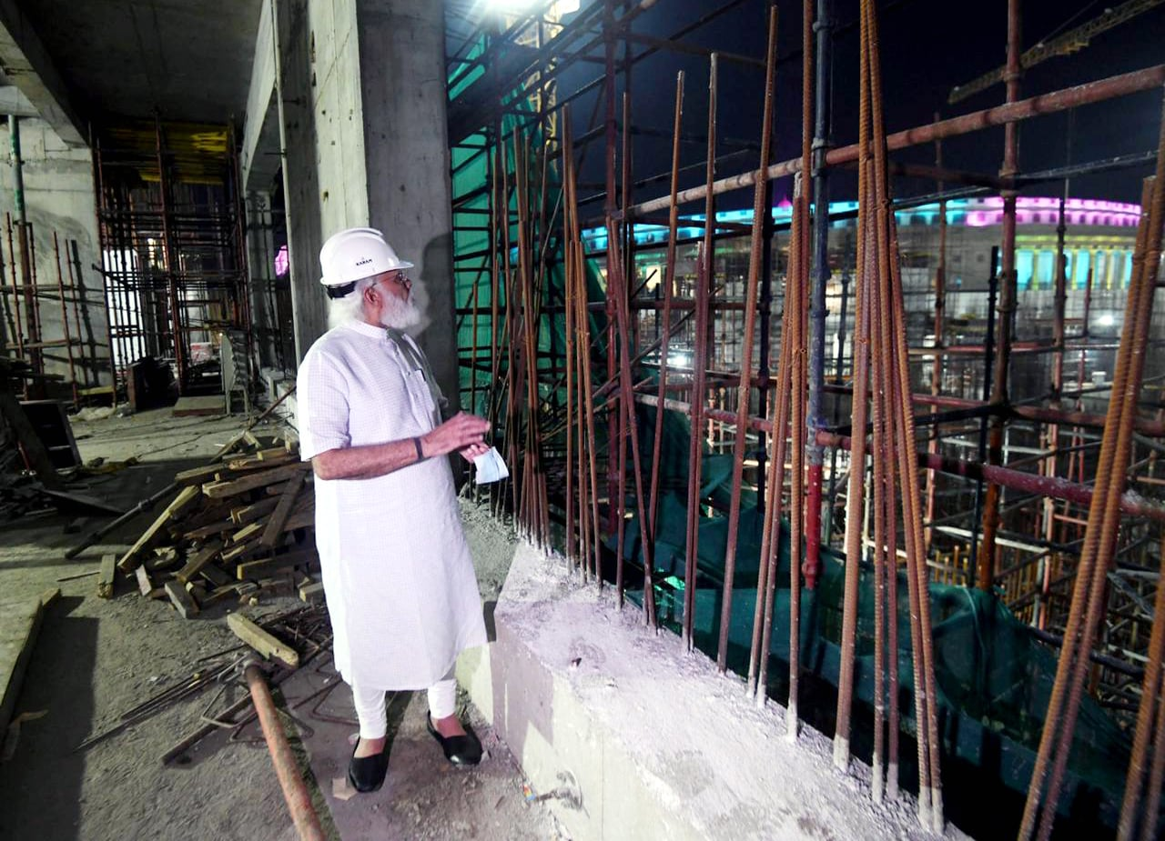 Prime Minister Narendra Modi spent almost an hour at the site and did a first-hand inspection of the construction status of the new parliament building.(ANI)