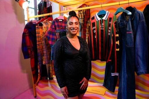 Designer Priya Ahluwalia poses for a portrait in front of her creations for Gucci(AP)