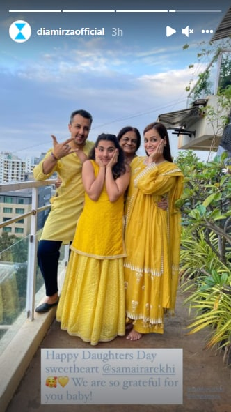 Dia Mirza wishes stepdaughter Samaira on Daughters' Day.