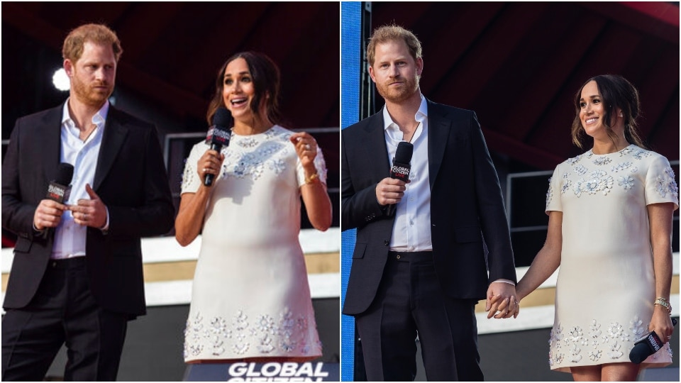 Meghan Markle at Global Citizen Live with Prince Harry.(AP)
