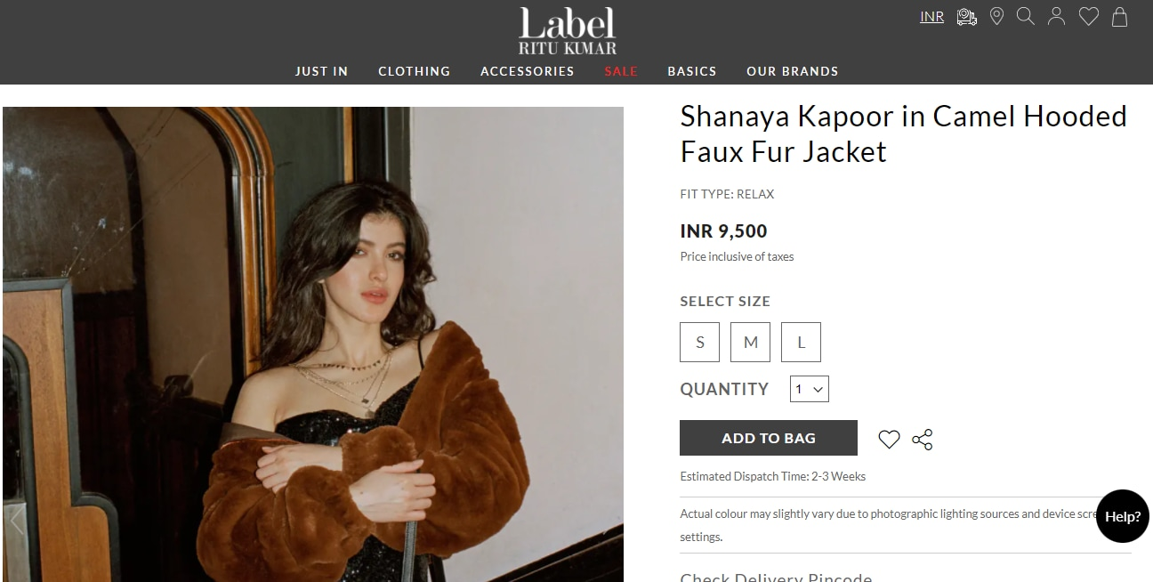 Shanaya Kapoor's jacket from Label Ritu Kumar(labelritukumar.com)