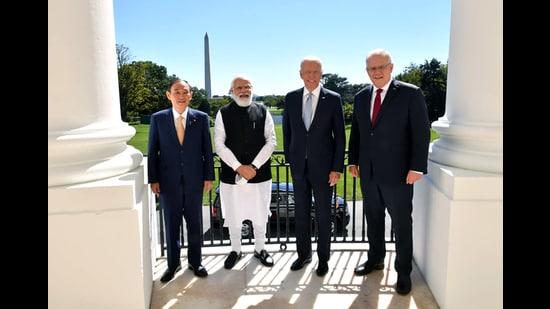 Prime Minister Narendra Modi, Australian Prime Minister Scott Morrison, US President Joe Biden, and Japanese Prime Minister Yoshihide Suga in Washington DC, 2021 (ANI)