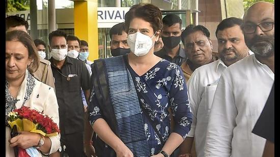 Congress general secretary Priyanka Gandhi Vadra arrives at the Chaudhary Charan Singh Airport in Lucknow, Monday. (PTI Photo)
