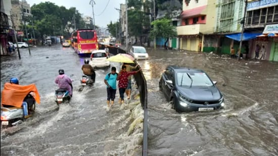 Vehicles wade through a waterlogged road in Hyderabad following heavy rain on Monday. (PTI)