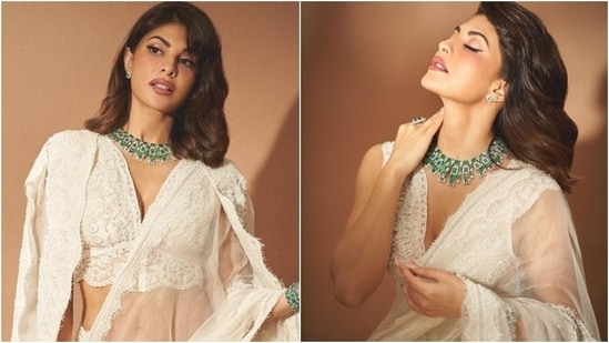Bollywood actor Jacqueline Fernandez never fails to turn heads with her bold, elegant, and sensual looks. The star has an experimental sense of style, and she can easily stun in a gorgeous gown as she can make people go breathless with her ethnic looks. Jacqueline's latest photoshoot in a stunning sheer saree is proof of the same.(Instagram/@chandiniw)