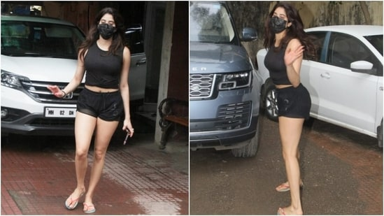 Janhvi was snapped outside the Pilates Studio post a workout session in Mumbai today. For the outing, Janhvi chose all-black separates and showed us how to look stylish while working out. We are taking notes out of her style book, and you should too.(HT Photo/Varinder Chawla)