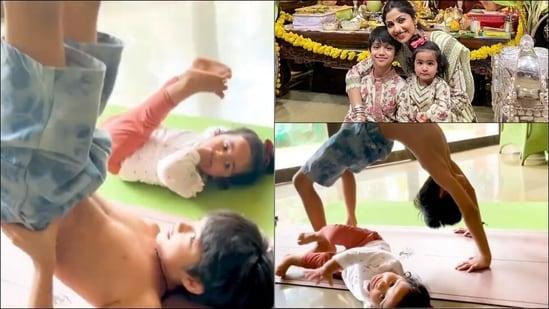 Shilpa Shetty Kundra's kids bonding over Yoga's Sarvangasana and Chakrasana in new workout video is the cutest fitness motivation