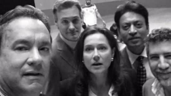 Irrfan Khan poses for a selfie with Tom Hanks.