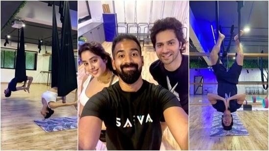 Varun Dhawan does backbend yoga with Janhvi Kapoor at Malaika Arora's studio: Boys do yoga too(Instagram/@varundvn)