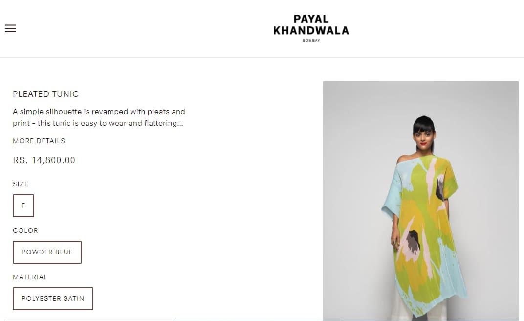 Dia Mirza's pleated tunic from Payal Khandwala(payalkhandwala.shop)