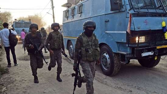 Security personnel seen in Jammu and Kashmir.(File Photo/ANI)