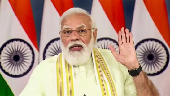 Prime Minister Narendra Modi addresses during an inauguration of the National Institute of Biotic Stress Management in Raipur via video conferencing in New Delhi.(PTI)