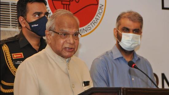 Chandigarh administrator Banwarilal Purohit launching the estate office website and online services on Tuesday. (HT Photo)