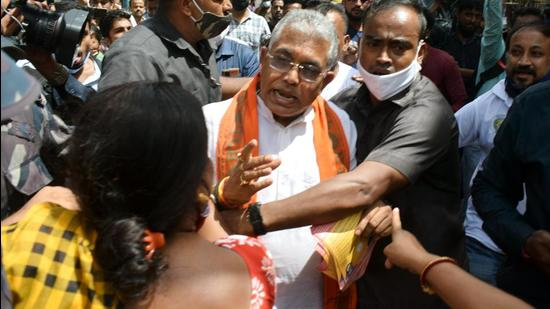 BJP national vice president Dilip Ghosh was obstructed during election campaign for party candidate from Bhabanipur, Priyanka Tibrewal in Kolkata on Monday. (Saikat Paul/ANI Photo)