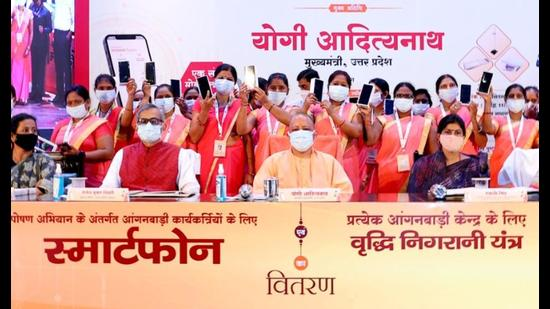 Chief minister Yogi Adityanath during a programme to promote nutrition among women and children in the state capital on Tuesday (Sourced)
