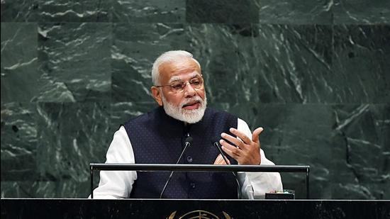 Prime Minister Narendra Modi addresses at the UN General Assembly on September 25. India may update its NDC ahead of or at the COP26 to be held in Glasgow in November. (ANI)
