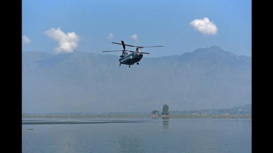 An air show was held Srinagar on Sunday where DDC head was also present. (HT File Photo)