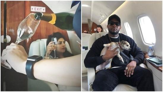 Priyanka Chopra and her co-star Osy Ikhile in a private jet.