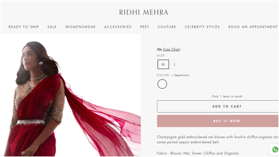 Ananya Panday's fuchsia saree.(ridhimehra.com)