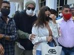 Ranbir Kapoor and Alia Bhatt arrive at the Jodhpur airport.