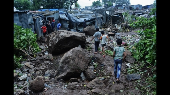 Landslide occurred in Ulhasnagar on Wednesday as a portion of a safety wall subsided on three houses. The residents were rescued. (For representational purposes only) (PRAFUL GANGURDE/HT FILE PHOTO)