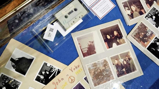 View of items at an auction of polariods and a cassette with the recording of Danish schoolboys' interviews with John Lennon and Yoko Ono during the couple's winter stay in Thy, Jutland, Denmark in 1970 at Bruun Rasmussen Auction House in Copenhagen, Denmark(Ritzau Scanpix/Philip Davali via REUTERS)
