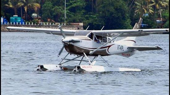 A seaplane prepares to take off from the Ashtamudi lake, during the launch of the Seaplane service by Kerala Tourism Department in Kollam district, Kerala. (PTI)
