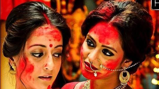 A still from Raima Sen's Bengali web series, Hello.