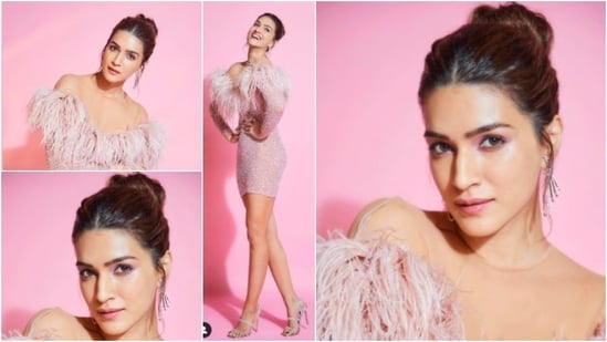 This recent look of Kriti Sanon in a short glitter pink dress is the perfect party fit. Check out her photos here.(Instagram/@vandafashionagency)