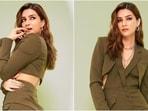 Kriti Sanon in mini blazer dress with waist cut-outs promotes Hum Do Humare Do, all pics(Instagram/@kritisanon)