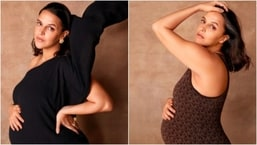 In her recent Instagram posts, Neha Dhupia preached body positivity as she posed in stylish maternity outfits. Check out her pictures here.(Instagram/@nehadhupia)