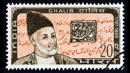 A stamp issued in 1969 to mark the 100th death anniversary of poet Mirza Ghalib (1797-1869). (Shutterstock)