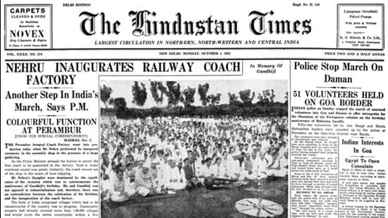 HT This Day: October 3, 1955 — Nehru inaugurates railway coach factory