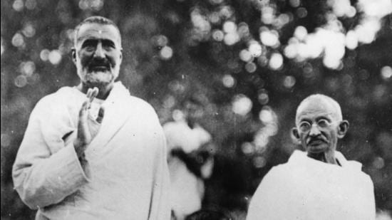 Badshah Khan and Gandhi's friendship began after Khan's release from jail, and when he stayed at Sewagram Ashram (Wardha) with Gandhi (Getty Images)