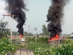Eight people were killed as clashes broke out in the region after a car hit protesting farmers, prompting an angry crowd to burn two vehicles and widen their agitation.(ANI)