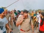 The incident happened earlier in the day atTikonia-Banbirpur roadwhen the farmers were protesting against the visit of Uttar Pradesh deputy chief minister Keshav Prasad Maurya in Banbirpur village. (PTI Photo)