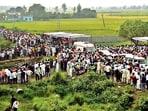 Farmers gather in Lakhimpur Kheri on Monday.(HT Photo)