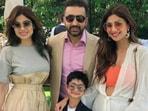 Shamita Shetty poses with sister Shilpa Shetty, brother-in-law Raj Kundra, and nephew Viaan.